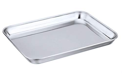 Toaster Oven Tray,P&P CHEF Stainless Steel Toaster Oven Pan, Rectangle 10.5''x8''x1'', Healthy & Heavy Duty, Mirror Finish & Dishwasher Safe