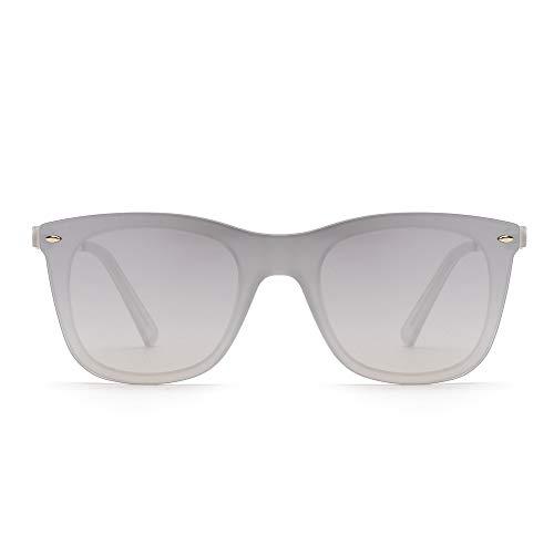 Gafas de Sol de Espejo Sin Montura Una Pieza Sin Marco Anteojos Hombre Mujer (Transparente/Espejo Plateado)
