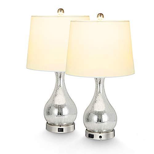 2X Silver Mercury Glass Table La...