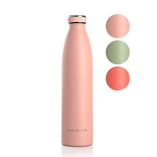 LARS NYSØM Edelstahl 1 Liter Trinkflasche mit Ersatzdeckel | BPA-freie Isolierflasche 1000ml | Auslaufsichere Wasserflasche für Sport, Fahrrad, Hund, Baby, Kinder