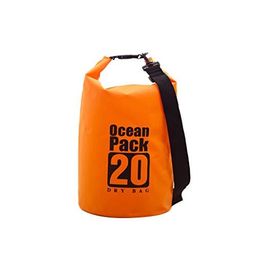 Yowablo PVC wasserdichter Packsack Sack Ocean Pack Schwimmboot Kajak Camping 20L (20L,Orange)