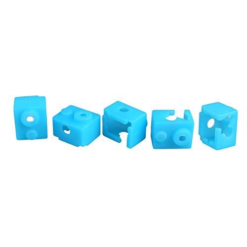 SOOWAY Impresora 3D hotend bloque de calefacción calcetines con cubierta de silicona Compatible con extrusora V6 Resistente a altas temperaturas de hasta 280 grados (azul)