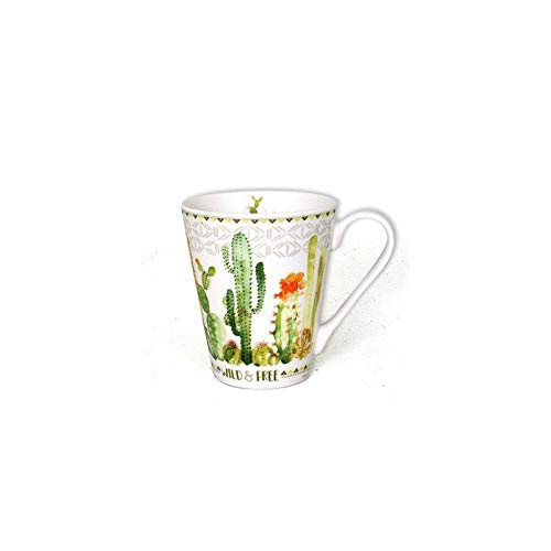 Mug Aloé imprimé cactus - 325 mL - Céramique - Blanc