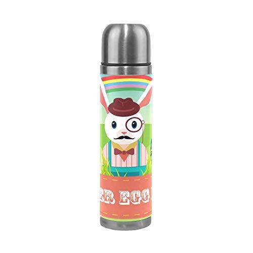 Thermos ThermoCafé Botella térmica aislada, Conejo Huevo Colorido Arco Iris Feliz Pascua,Frasco de Vacío de Acero Inoxidable 500 ml