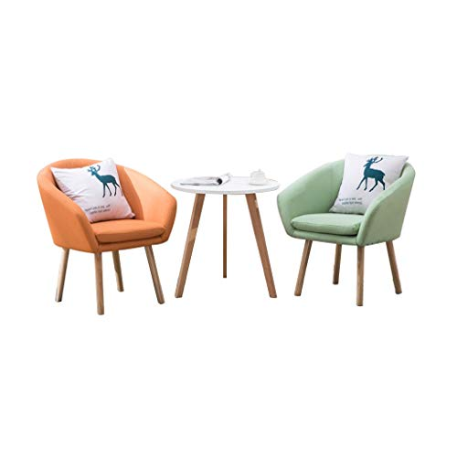 Combination chair Retro Lounge Chairs,Wooden Legs Small Sofa Balcony Tables and Chairs 3 Piece Set Combination Cotton Linen Corner Chair (Color : Orange and mint green)