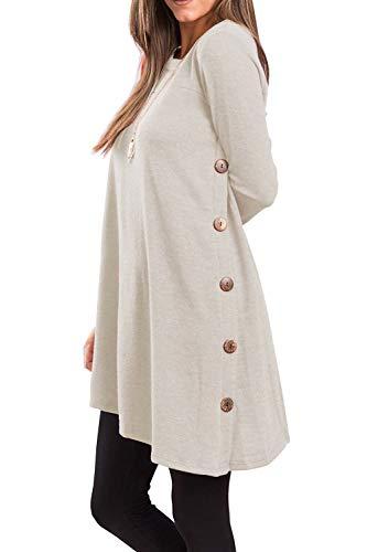 Yidarton - Jersey para mujer de invierno, asimétrico, manga larga, vestido de punto beige XL