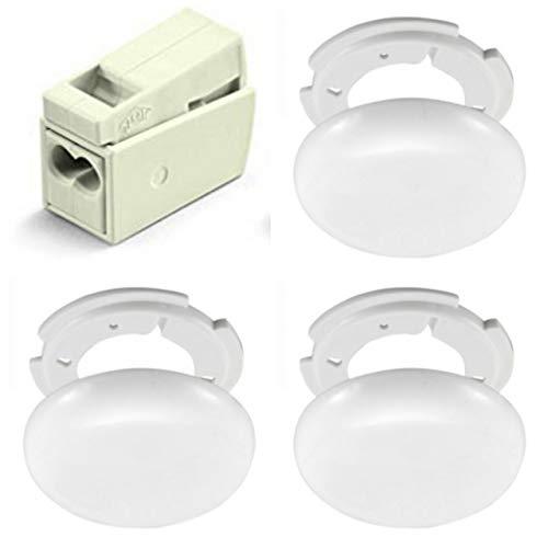 3 Lampen Abzweigdosen, Verteilerdose, weiß, superflach, Ø 130, Höhe 1,5 cm - Anschlussklemmen und Montage Set