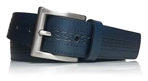 almela - Cinturón de hombre - Piel Legitima - 3.5 cm de ancho - Cuero - Vaqueros y vestir - 35mm - Belt for men (Azul Marino, 105)