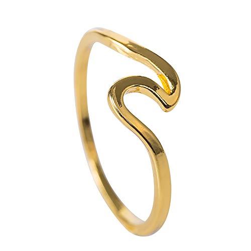 Anillo de aleación para mujer Anillo de aleación creativo en forma de hoja de circón Anillo de fiesta de viaje para damas anillo de cola 5-11 (oro)