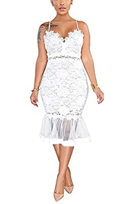 Salimdy Womens Elegant Sequin Tassel Sleeve Bodycon Cocktail Party Midi Dress White
