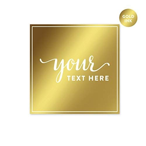 Andaz Press Fully Personalized Square Label Stickers, Metallic Gold Ink, Solid Gold, 40-Pack, Custom Made Any Text, Not Gold Foil, For Baptism, Graduation, Christmas