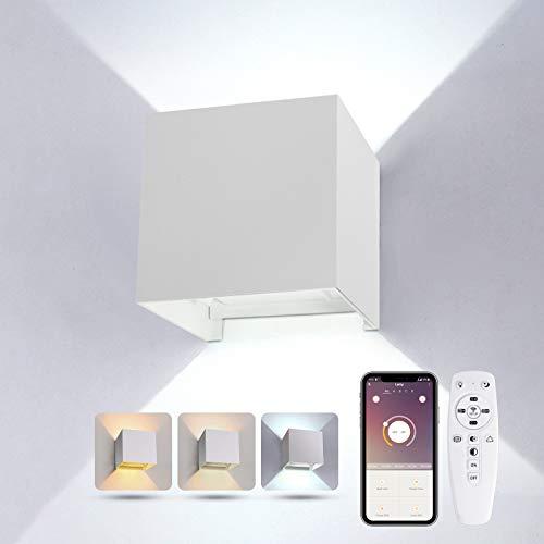 Led Wandleuchte Innen mit Fernbedienung 24W 2700K-6500K Dimmbar Wandlampe, Moderne Up Down Wandlampe für Schlafzimmer Wohnzimmer Flur Treppen, Weiß[Energieklasse A+]