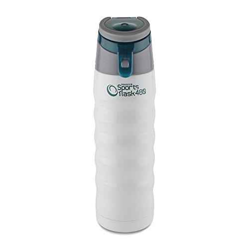 Pioneer Bouteille d'eau de Sport avec poignée à double paroi en acier inoxydable – 480ML, Blanc