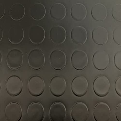 Revestimiento de Caucho Antideslizante | Suelo de Goma PVC Negro 1mm Diseño Botones (140_x_300 CM)