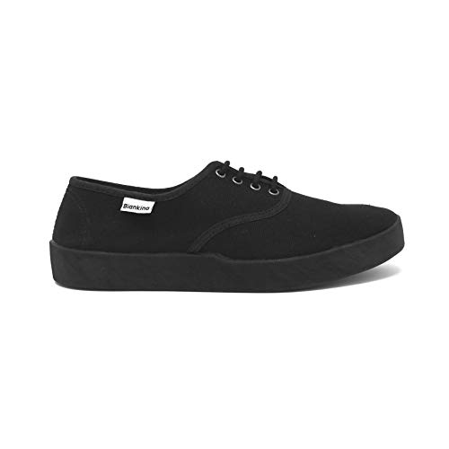 Biankina Capri Vegan Sneakers for Women - Original Classic Style Breathable Eco Canvas Upper, Comfy Low Wedge Rubber Sole, Artisan Crafted and Handmade Shoes, Made in Europe (Black - Mono, 10)