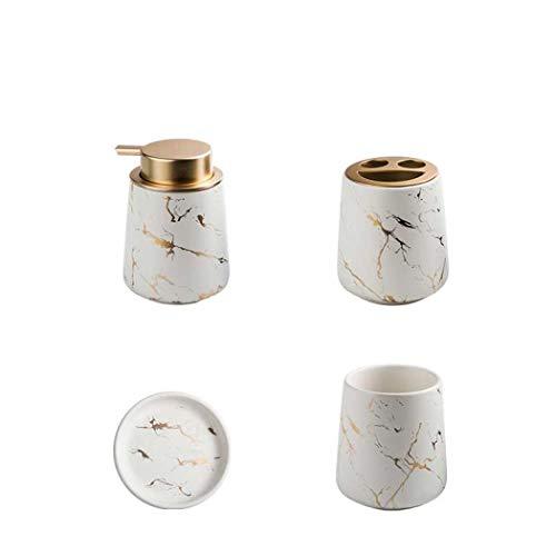 Badezimmer-Zubehör-Set, 3 oder 4-teilig, Keramik, Marmor-Look, modernes Design, Badezimmer-Zubehör (matt-weiß (4-teilig))