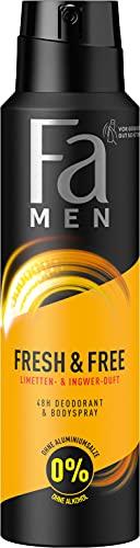 Fa Men Deodorant & Bodyspray Fresh & Free Limette & Ingwer ohne Alkohol, ohne Aluminiumsalze, 48h Schutz, 150 ml