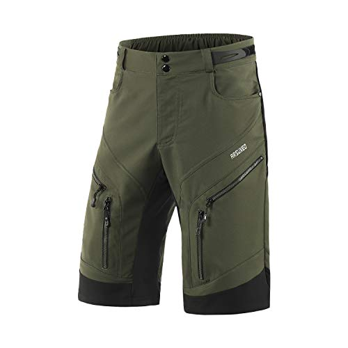 ARSUXEO Men's Loose Fit Cycling Shorts MTB Bike Shorts Water Ressistant 1903 Army Green Size Large