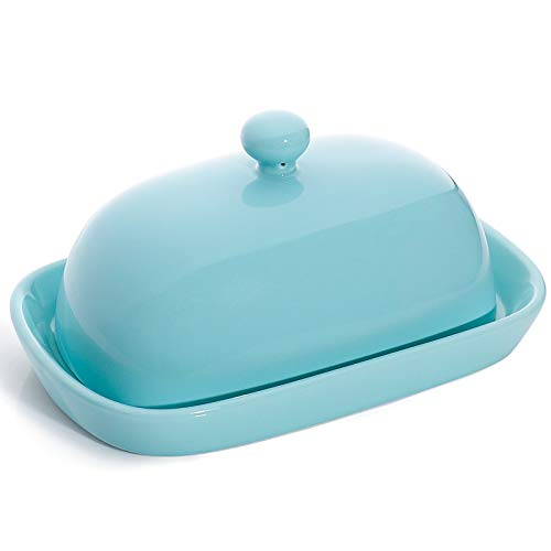 Sweese 306.102 Porcelain Cute Butter Dish with Lid, Perfect for East/West Butter, Turquoise