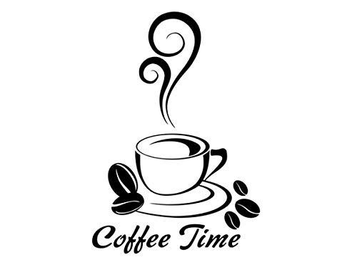 Wandtattoo-bilder® Wandtattoo Coffee Time Nr 2 Kaffee Café Küche Esszimmer Büro Wanddeko Farbe Braun, Größe 20x30