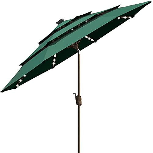 EliteShade Sunbrella Solar 9ft 3 Tiers Market Umbrella with 80 LED Lights Patio Umbrellas Outdoor Table with Ventilation and 5 Years Non-Fading Top,Forest Green
