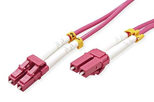 Value LC/LC LWL Netzwerkkabel | Glasfaser Kabel | OM4 Duplex Patchkabel in violett | 0,5 m