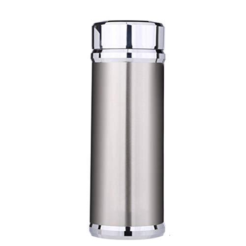 LZL Tazas de Viaje Hacer portátil de té 12 oz Viaje de Acero Inoxidable Taza con Tapa, Apto for lavavajillas, de Doble Pared, y Sellado al vacío Vaso de café del Viaje Vasos (Color : Silver)