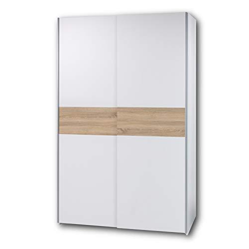 PULS Eleganter Kleiderschrank mit viel Stauraum - Vielseitiger Schwebetürenschrank in Weiß, Bauchbinde Eiche Sonoma - 125 x 195 x 58 cm (B/H/T)