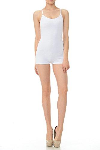 7Wins Women Catsuit Cotton Lycra Tank Spaghetti Strapped Short Yoga Bodysuit Jumpsuit S-Plus (Small, White)