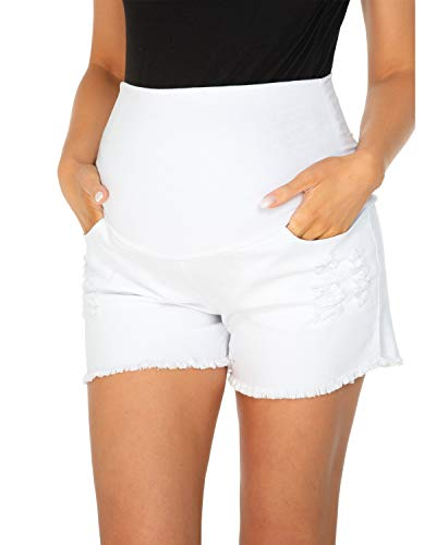 Love2Mi Pantalones vaqueros cortos de maternidad con banda elástica en el vientre Blanco M