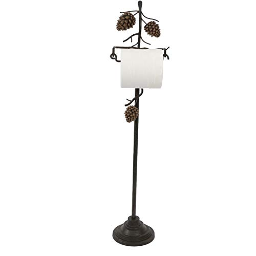PINE CONE TOILET PAPER stand room HOLDER LODGE bath NEW