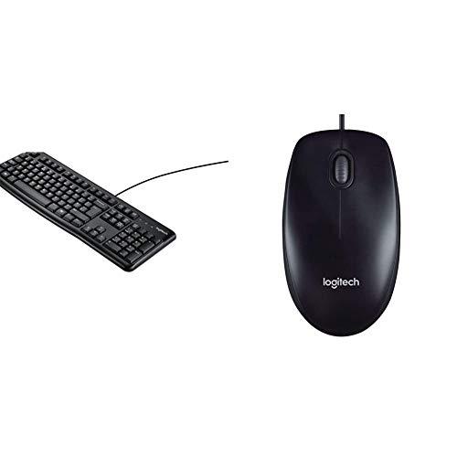 Logitech k120 tastiera cablata business per windows/linux, usb, tasti silenziosi, anti schizzi & m90 mouse usbcablato, 1000 dpi, mouse ambidestro, compatibile con pc/mac/laptop