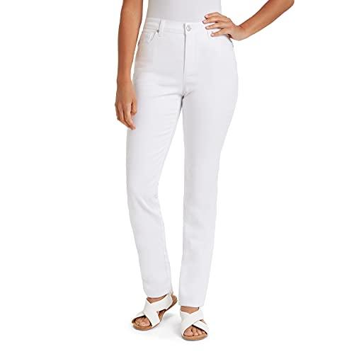 Gloria Vanderbilt Women's Plus Size Amanda Classic High Rise Tapered Jean, Vintage White, 18W