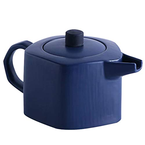 Théière en céramique mate, ustensiles de cuisine, théière, tasse et soucoupe, théière à fleurs grande capacité, cafetière (Couleur : Bleu, style : Pot)