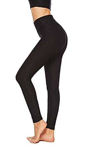 Voqeen Womens Yoga Pants, Sexy Butt Lift Shaping Tights, Breathable Honeycomb High Waist Leggings, for Workout Running Tummy Control (Black, S)