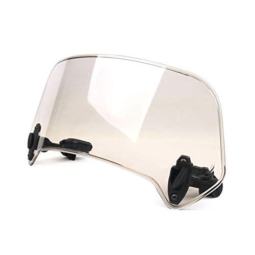Alerón de parabrisas de motocicleta para motocicleta, ajuste para motocicleta general, scooter, clip ajustable, alerón alargado, parabrisas ajustable y bloqueable (color: marrón grande)