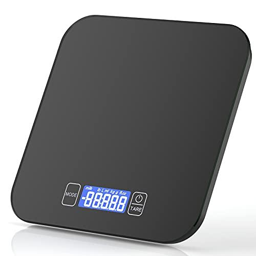 Balance de cuisine numérique 15 kg/33lb Balance électronique de cuisine Balance ménager haute précision Balance alimentaire LCD avec grand verre de sécurité Surface de pesée et tare
