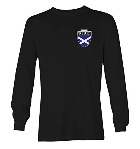 Scotland Football Jersey - Scottish National Soccer Unisex Long Sleeve Shirt (Black, X-Large)