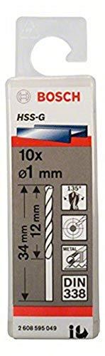 Bosch Professional Metallbohrer HSS-G geschliffen (10 Stück, Ø 1 mm)