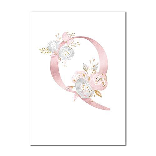 Baby Poster Personalisierte Mädchenname Benutzerdefinierte Poster Kinderzimmer Drucke Rosa Blumen Wandkunst Leinwand Malerei Bilder Für Mädchen Zimmer Q 50X70cm Kein Rahmen