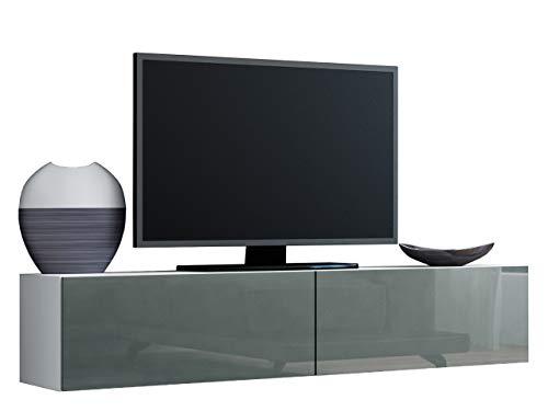 Mirjan24 TV Schrank Vigo, Fernsehschrank, TV Lowboard mit Grifflose Öffnen, Hängeschrank Hochglanz Matt Wohnwand (Länge: 140 cm, Weiß/Grau Hochglanz)