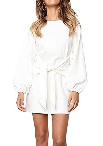PRETTYGARDEN Women's Elegant Long Lantern Sleeve Short Dress Crewneck Tie Waist Knit Cocktail Dress White