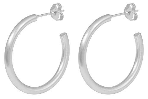 Pernille Corydon Damen Creolen Gamma Hoops - 3 cm - Matte Oberfläche - 925 Silber - E194s