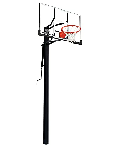 "Silverback 54"" In-Ground Height Adjustable Basketball System with Tempered Glass Backboard, Pro-Style Breakaway Rim, and Backboard Pad"