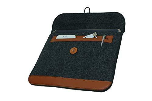 andyhandyshop Tablet Tasche Filz für Trekstor PrimeTab P10 LTE bis 10.1 Zoll Sleeve Schutzhülle, Dunkelgrau