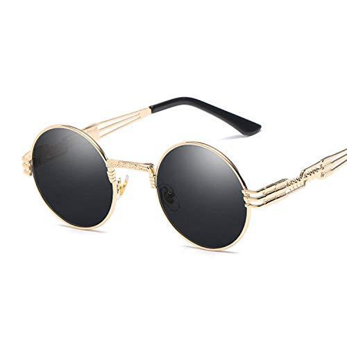 YDXC Gafas de Sol Metal Redondo Steampunk Hombres Gafas de Moda de Moda Retro Marco Vintage UV400 Aplicar al Trabajo por Ordenador o Conducir y Otras Actividades al Aire Libre-GoldGray