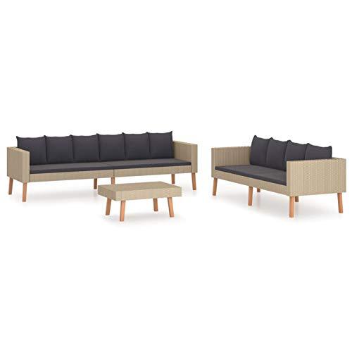 Tidyard Conjuntos Sofa Exterior Set de Muebles de jardín 3 pzas y Cojines ratán sintético Beige