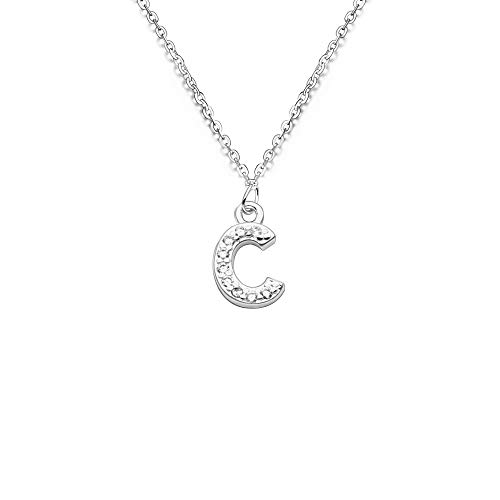 S925 Silver 26 Initial English Letter Crystal Chain Necklace For Women Girl Best Gift (C)