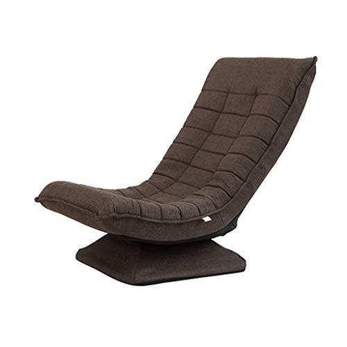JJZXD Ajustable Plegable Tumbona Sofá, algodón y Lino Marco de Acero, de 360 Grados giratoria Butaca de Juego, Confortable Silla tapizada Respaldo (Color : Brown)