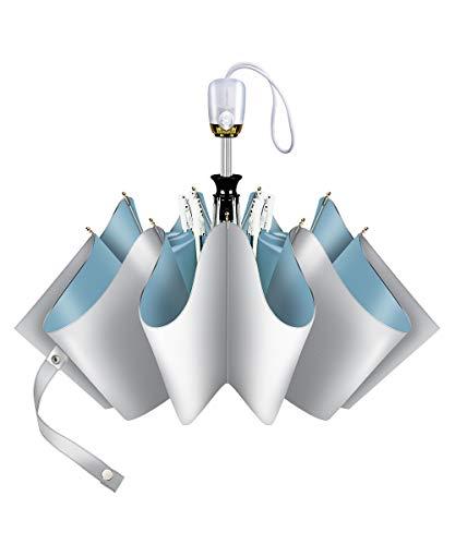 日傘 折りたたみ傘 ワンタッチ 自動開閉 晴雨傘 8本骨 ワンタッチ シンプル 折れにくい 男女兼用折り畳み傘 濡れない 晴雨兼用 UVカット 遮光 遮熱 耐風 軽量 自動傘 (blue)